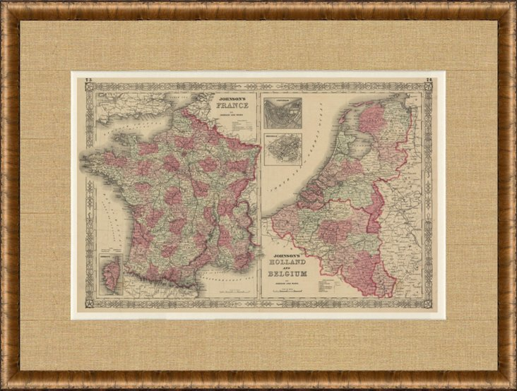 Map of France, Holland, Belgium, 1863