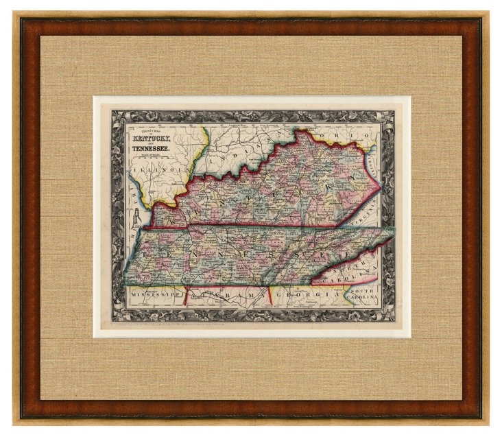 Map of Kentucky & Tennessee, C. 1860