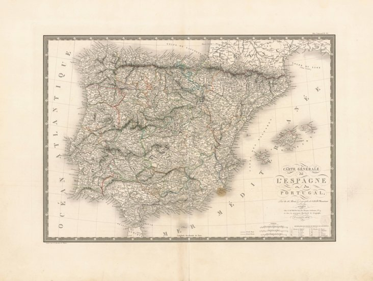 Map of Spain & Portugal, 1824