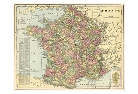 Map of France, 1900