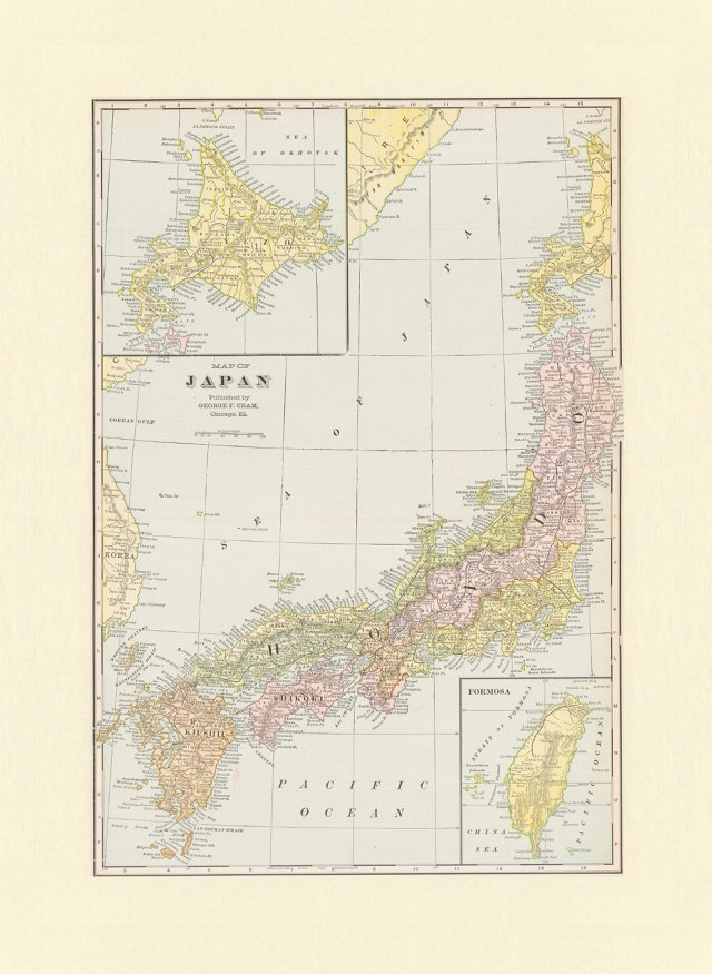 Map of  Japan, 1901