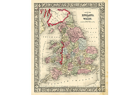 Map of England & Wales, 1860