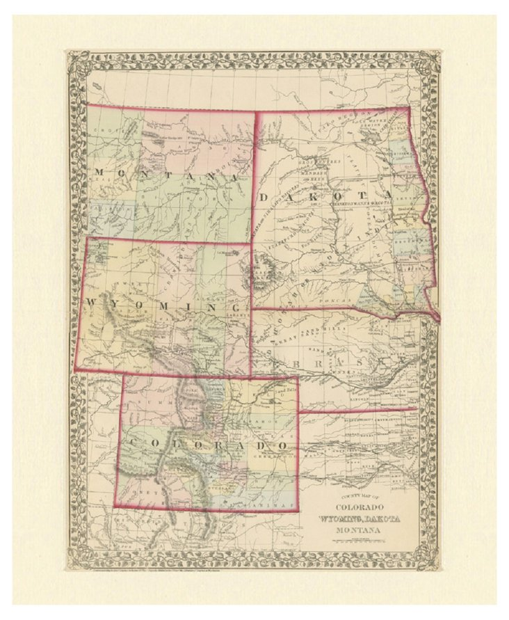 Map of CO, WY, Dakota & MT, C. 1870