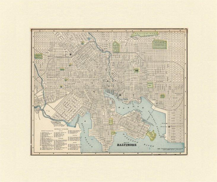 Map of Baltimore,  C. 1900