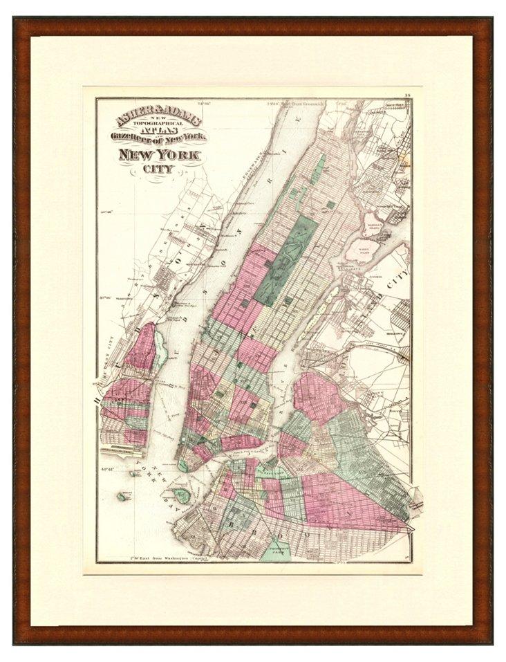 New York City Map, 1871