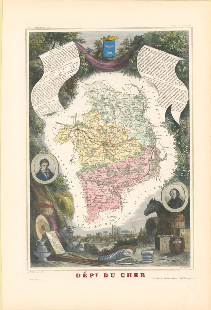 Map of Cher, France, 1866