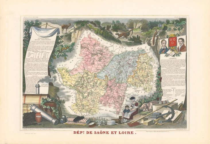 Map of Saône-et-Loire, France, 1866
