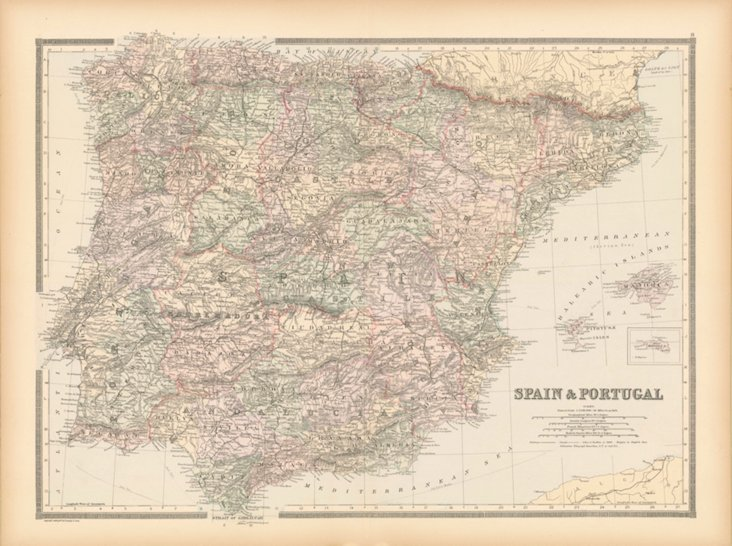 Map of Spain & Portugal,  1886