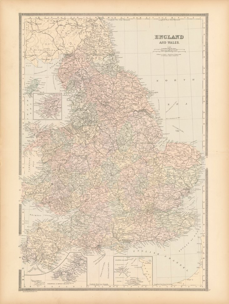 Map of England & Wales,  1886