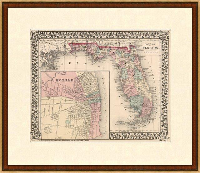 Map of Florida, 1876