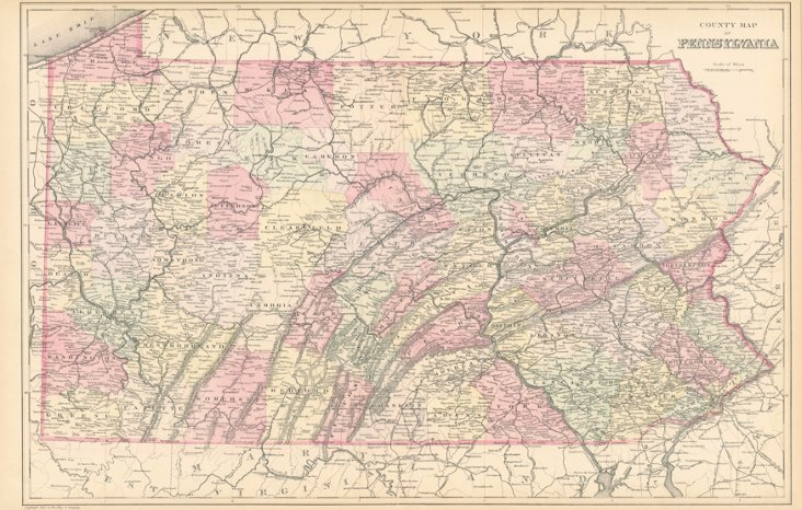 Map of Pennsylvania, 1882
