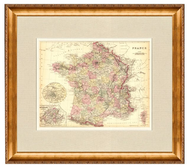 Map of France, 1884