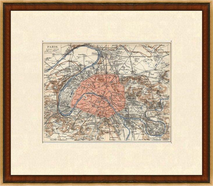 Map of Paris & Its Environs,  1885