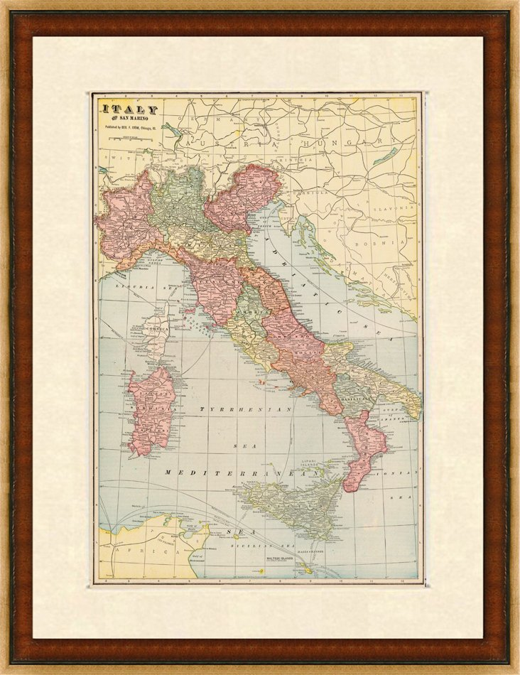Map of Italy, C.    1900