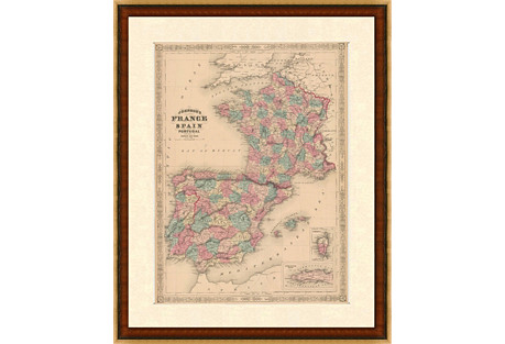 Map of France, Spain & Portugal, C. 1860