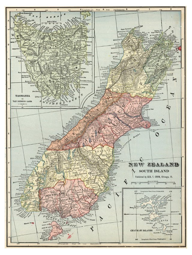 South Island of New Zealand, C. 1900