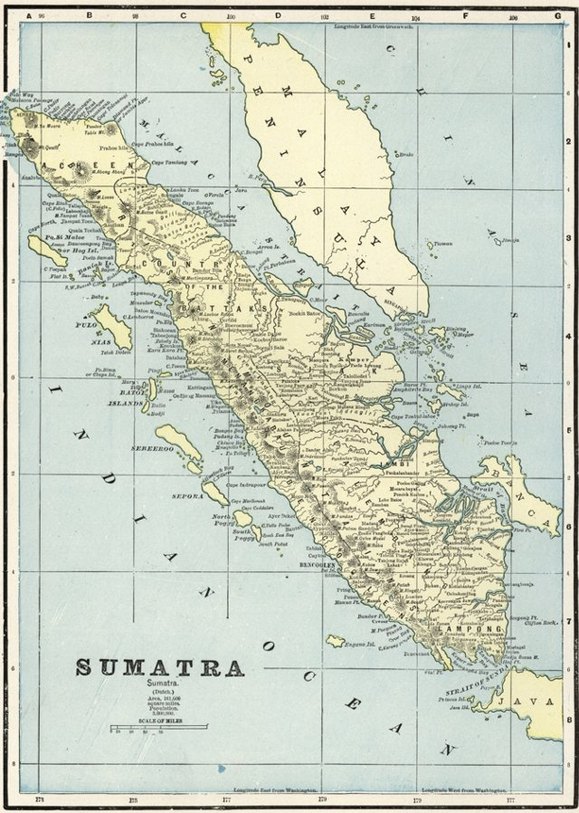 Map of Sumatra, Indonesia, C. 1900