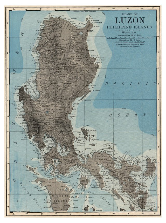 Map of Luzon,  Philippines, 1899