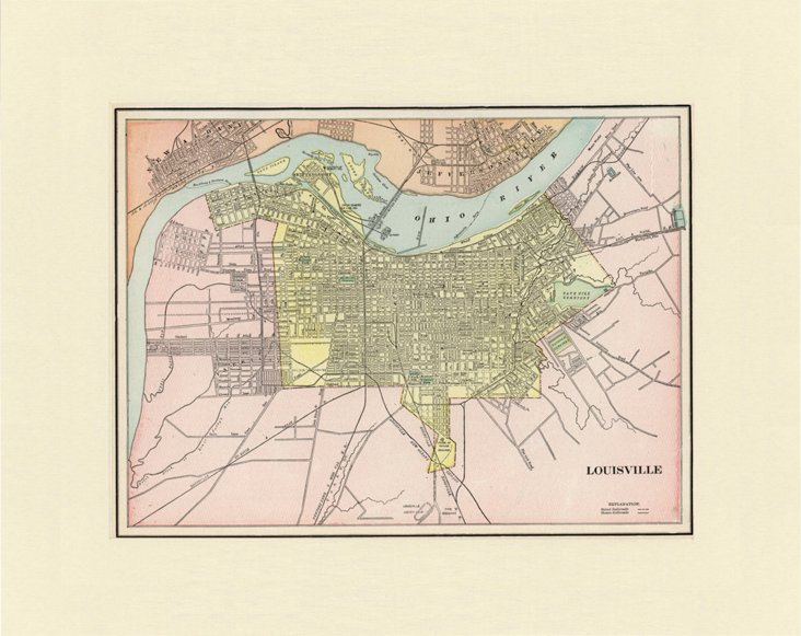 Map of Louisville, KY, C. 1900