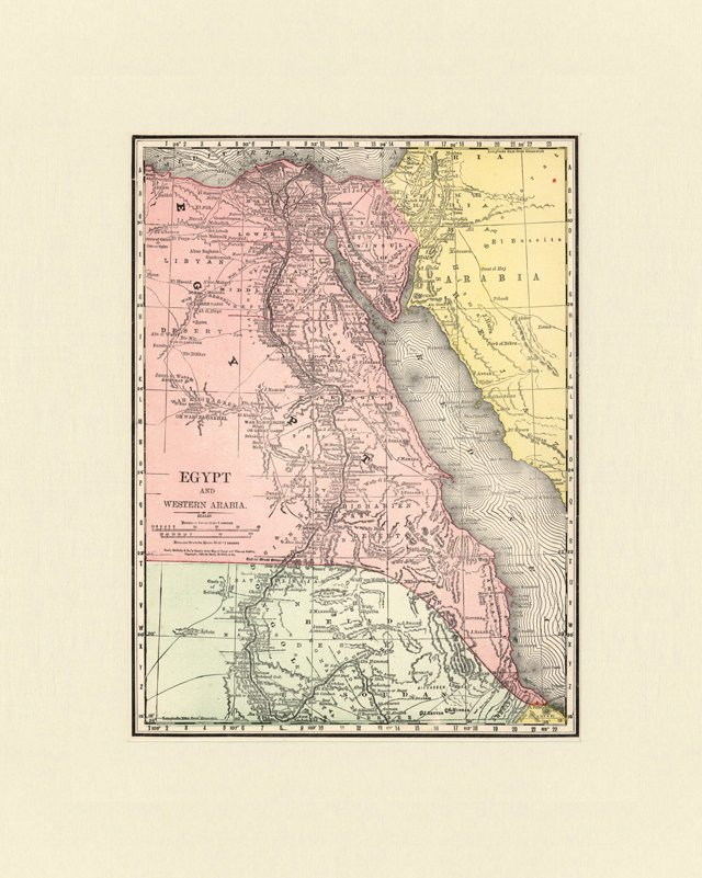 Map of Egypt & Western Arabia, 1892