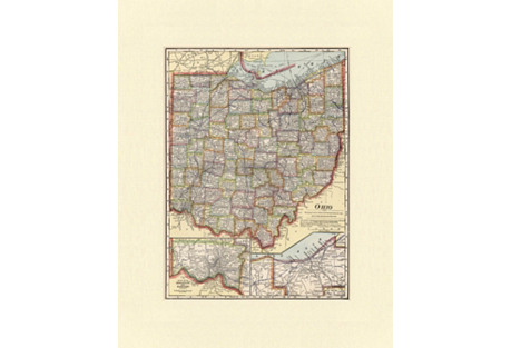 Map of Ohio, C. 1900