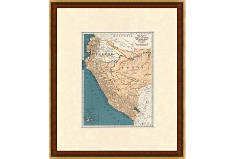 Map of Peru & Ecuador, 1937