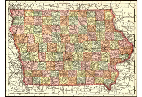 1890s Map of Iowa