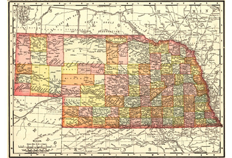 1890s Map of  Nebraska