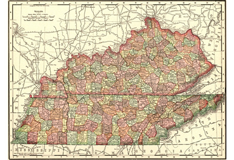 1890s Map of Kentucky & Tennessee