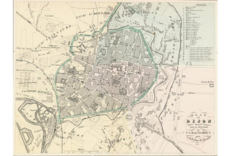 1855 Map of Dijon, France