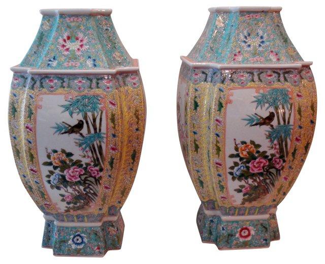 Famille Rose   Vases, Pair