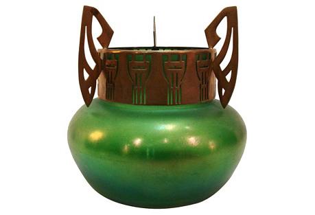 Loetz Green Iridescent Vase