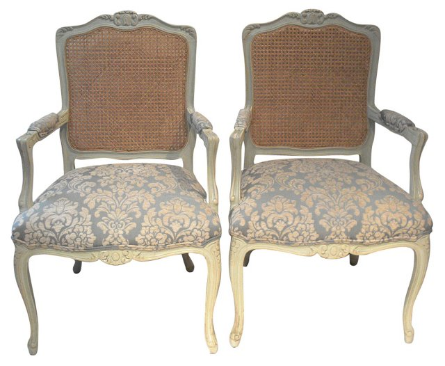 French  Cane-Back  Armchairs, Pair