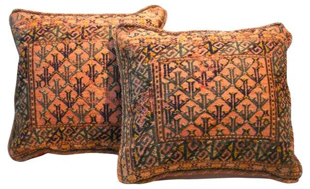 Pillows w/ Antique Kilim, Pair