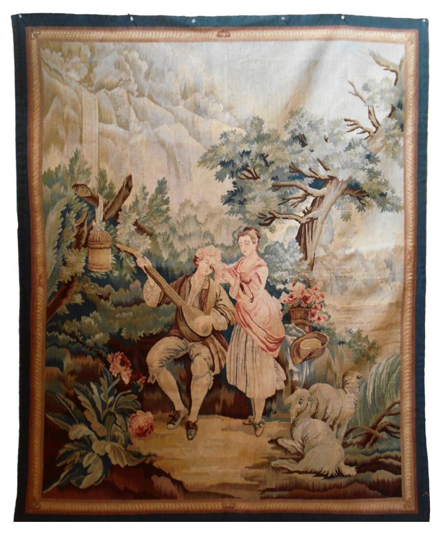French Aubusson Tapestry of Lovers