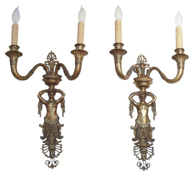 19th-C. French Bronze Sconces, Pair