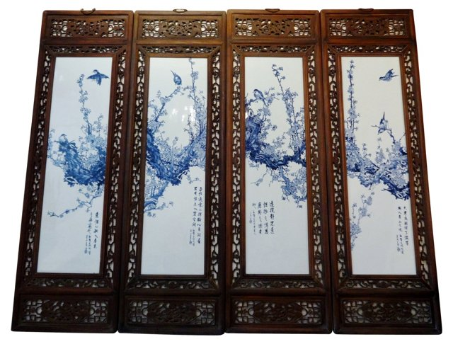 Blue & White Panels, S/4