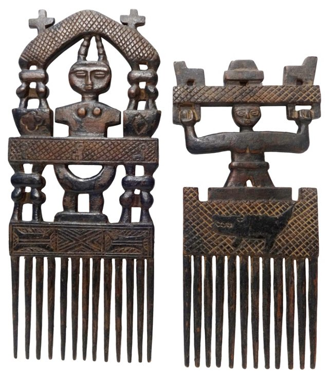 African Wedding Combs, Pair