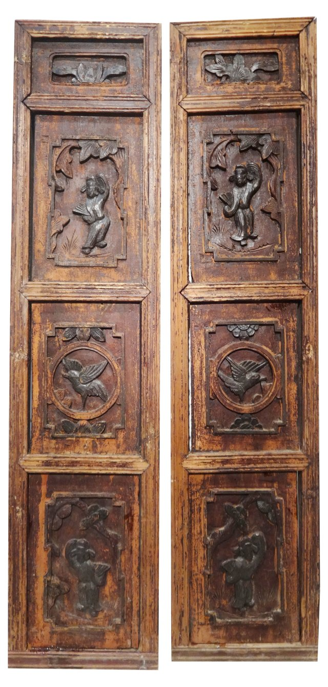 Antique Chinese    Wall Hangings, Pair
