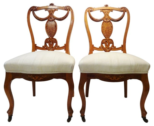Antique French Side  Chairs, Pair