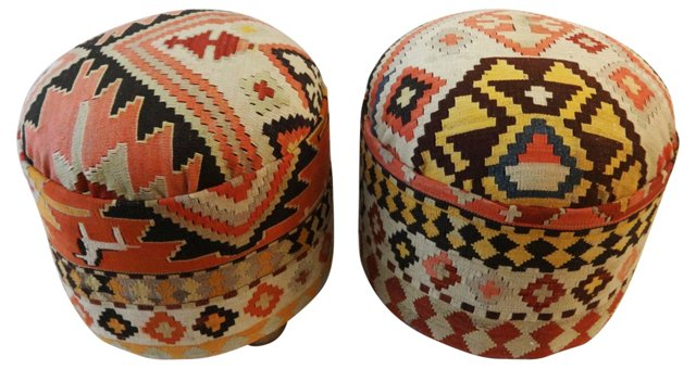 Antique Kilim-Covered Ottomans, Pair
