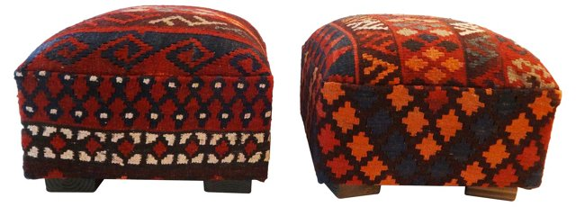 Kilim-Upholstered   Ottomans, Pair
