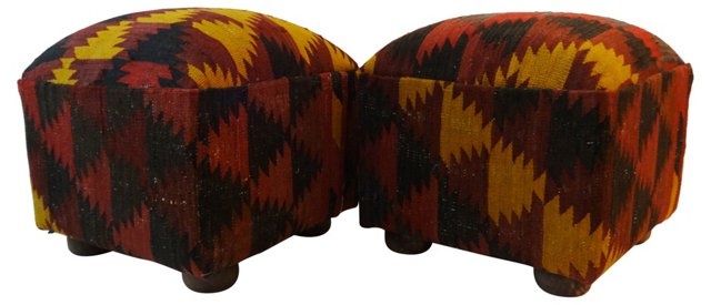 Turkish Kilim Ottomans, Pair