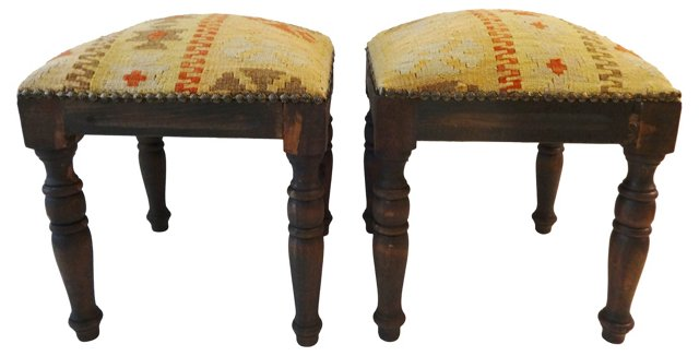 Square Turkish Kilim Stools, Pair