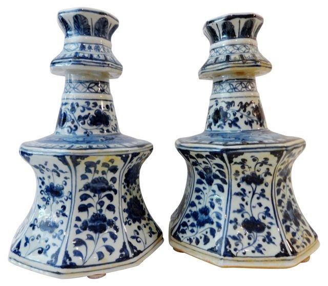Blue & White Candleholders, Pair
