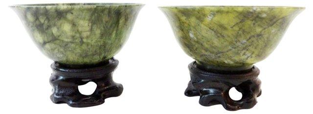 Spinach Jade Bowls, Pair