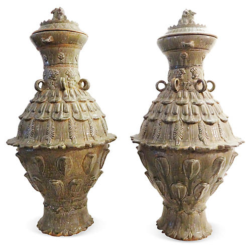 Tang-Style Celadon Vases, Pair
