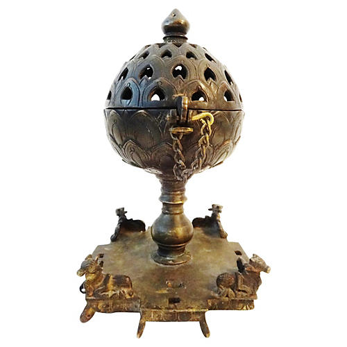 19th-C. Bronze Incense Burner