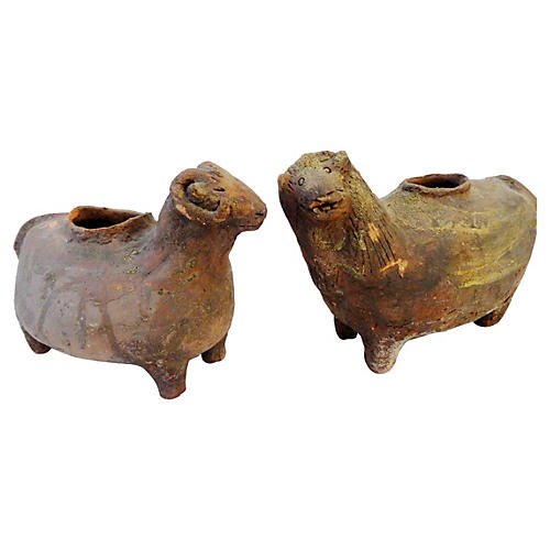 Terracotta Sheep Vessels, Pair