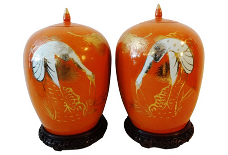 Crane Ginger Jars, S/2